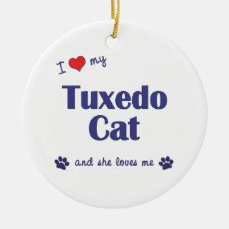 I Love My Tuxedo Cat (Female Cat) Christmas Tree Ornament