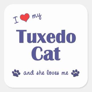 I Love My Tuxedo Cat (Female Cat) Square Stickers