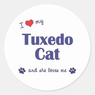 I Love My Tuxedo Cat (Female Cat) Stickers