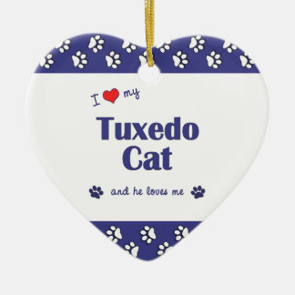 I Love My Tuxedo Cat (Male Cat) Christmas Ornaments