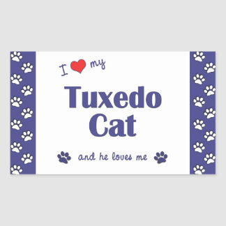 I Love My Tuxedo Cat (Male Cat) Rectangle Sticker
