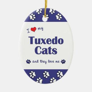 I Love My Tuxedo Cats (Multiple Cats) Christmas Tree Ornaments