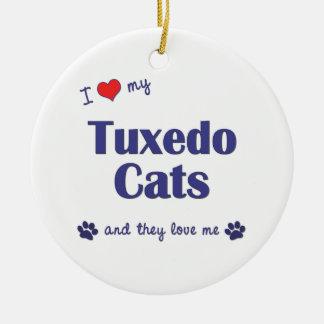 I Love My Tuxedo Cats (Multiple Cats) Christmas Ornaments