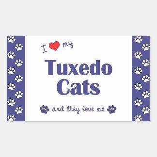 I Love My Tuxedo Cats (Multiple Cats) Rectangle Sticker