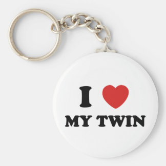 I Love My Twin Basic Round Button Key Ring