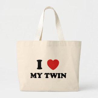 I Love My Twin Jumbo Tote Bag