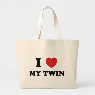 I Love My Twin Large Tote Bag