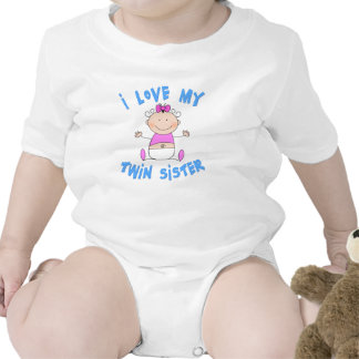 I Love My Twin Sister Baby Bodysuits