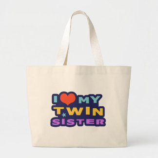 I Love My Twin Sister Large Tote Bag