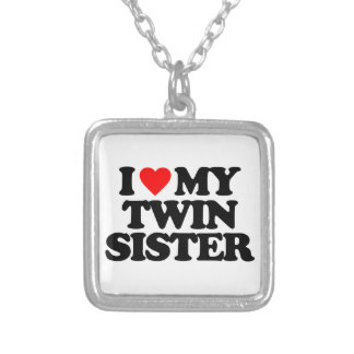 I LOVE MY TWIN SISTER SILVER PLATED NECKLACE
