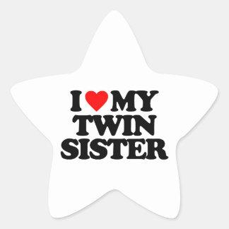I LOVE MY TWIN SISTER STAR STICKER