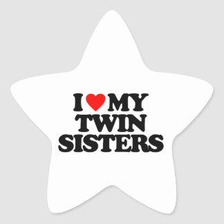 I LOVE MY TWIN SISTERS STAR STICKERS