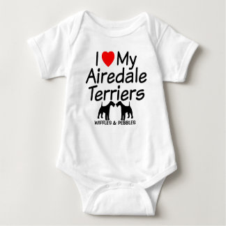 I Love My TWO Airedale Terrier Dogs Baby Bodysuit