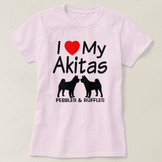 I Love My TWO Akita Dogs T-Shirt