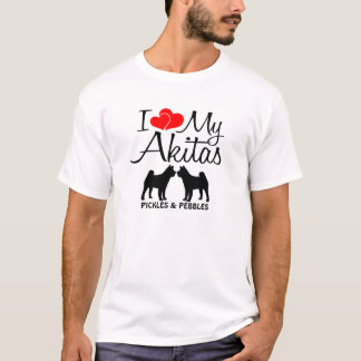 I Love My Two Akita Dogs T-Shirt