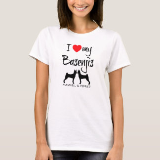 I Love My Two Basenji Dogs T-Shirt
