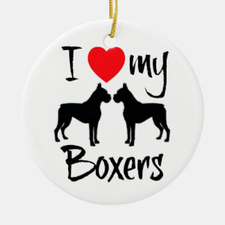 I Love My Two Boxer Dogs Christmas Ornament