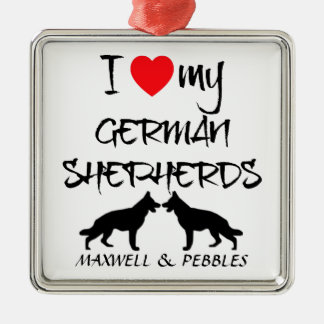 I Love My Two German Shepherd Dogs Silver-Colored Square Decoration