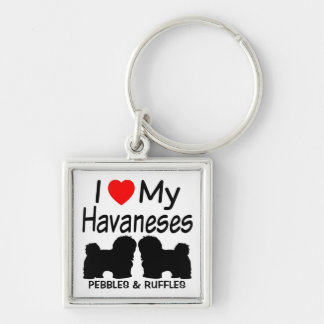 I Love My TWO Havanese Dogs Key Ring