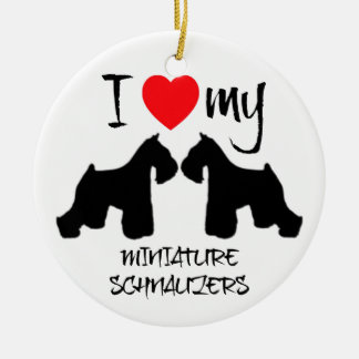 I Love My Two Miniature Schnauzer Dogs Round Ceramic Decoration