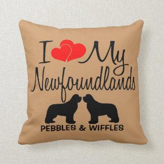 I Love My TWO Newfoundland Dogs Throw Pillow