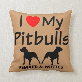 I Love My TWO Pitbulls Throw Pillow