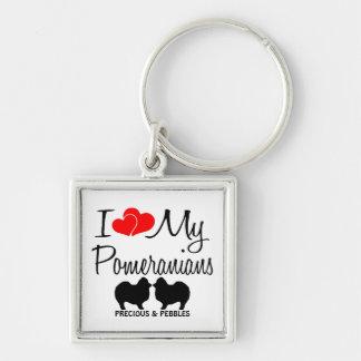 I Love My Two Pomeranians Custom Keychain