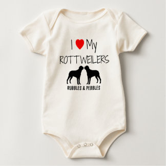 I Love My Two Rottweilers Baby Bodysuit