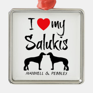 I Love My Two Saluki Dogs Christmas Ornament