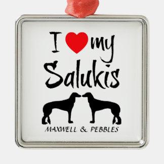 I Love My Two Saluki Dogs Silver-Colored Square Decoration