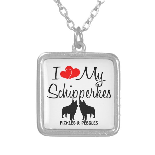 I Love My Two Schipperkes Necklace