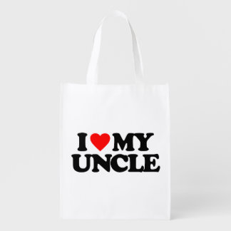I LOVE MY UNCLE REUSABLE GROCERY BAG