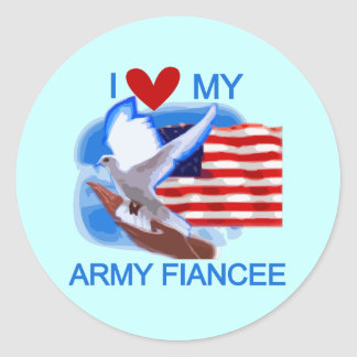 I Love My US Army Fiancee Tshirts and Gifts Round Sticker