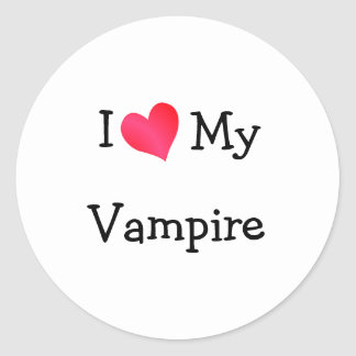 I Love My Vampire Classic Round Sticker