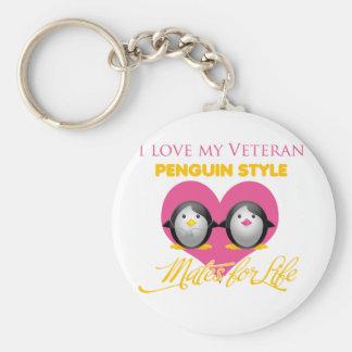 I Love My Veteran Penguin Style Basic Round Button Key Ring