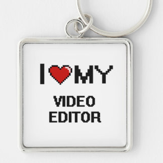 I love my Video Editor Silver-Colored Square Key Ring