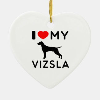 I Love My Vizsla. Ceramic Heart Decoration
