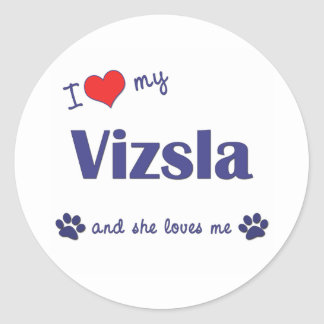 I Love My Vizsla (Female Dog) Classic Round Sticker