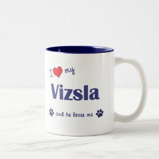 I Love My Vizsla (Male Dog) Two-Tone Mug