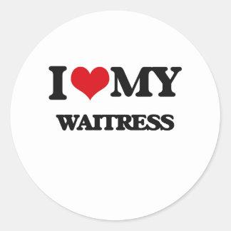 I love my Waitress Round Stickers