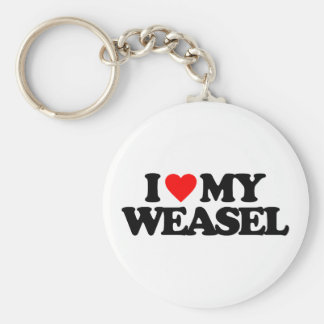 I LOVE MY WEASEL BASIC ROUND BUTTON KEY RING