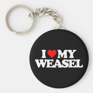 I LOVE MY WEASEL KEY RING