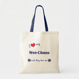 I Love My Wee-Chons (Multiple Dogs) Budget Tote Bag