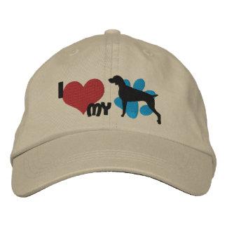 I Love my Weimaraner Embroidered Hats