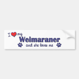 I Love My Weimaraner (Female Dog) Bumper Sticker