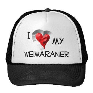 I Love My Weimaraner Hats