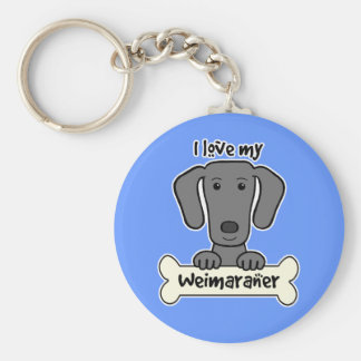 I Love My Weimaraner Key Ring