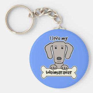 I Love My Weimaraner Key Ring