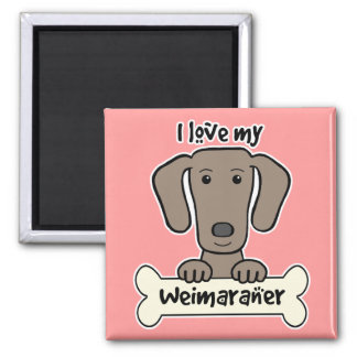 I Love My Weimaraner Square Magnet