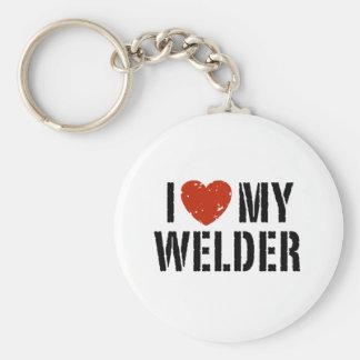 I Love My Welder Basic Round Button Key Ring